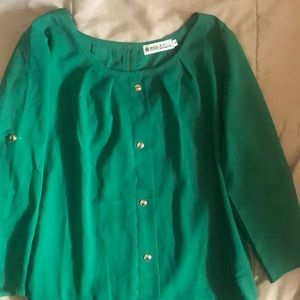 Tops - Womens 3/4 sleeve green blouse